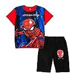 FLJLGY Teen Spiderman Imprimé Costume De Sport Décontracté Garçons Shorts À Manches Courtes...