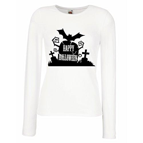 Weibliche Langen Ärmeln T-Shirt Halloween-Friedhof - Kostüm-Ideen - Coole Kleidung Horror-Design - All Hallows 'Abend (Large Weiß Mehrfarben)