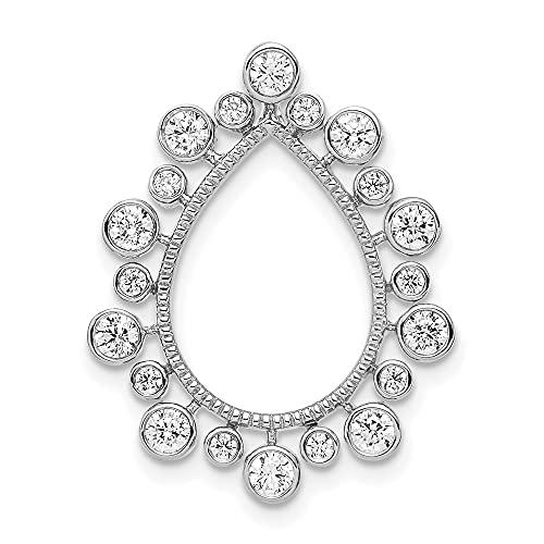 14 quilates de diamante blanco cultivado en laboratorio Si1 Si2 G H I Fancy Teardrop Chain Slide Jewelry Regalos para mujeres