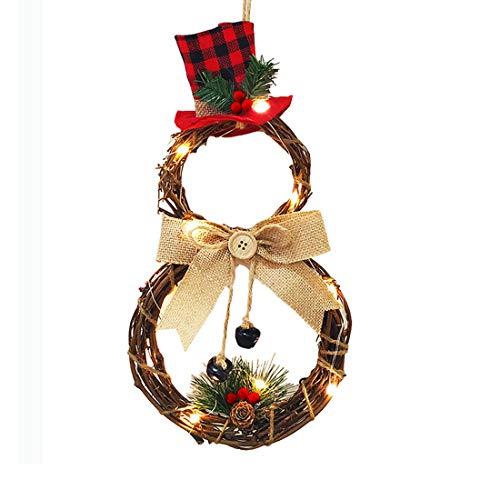 Dake Weihnachtskranz mit LED-Lichtern, Türkranz Weihnachten aus Rattan, Weihnachtsgirlande Handarbeit Deko-Kranz Tannenkranz Weihnachtsdeko Tür Wand Ornament Runden