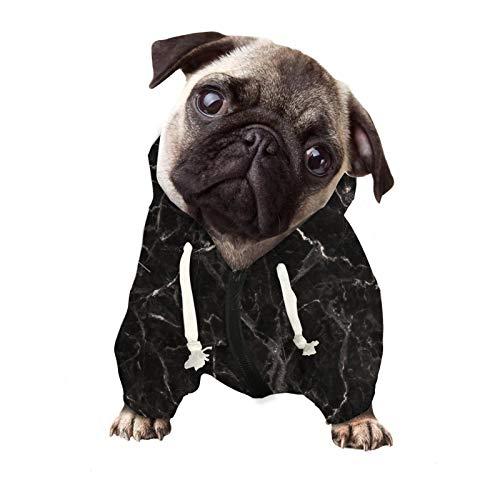 Aulaygo Sudadera con capucha para perros con bolsillos, ropa para perros pequeños, medianos y grandes, suave y fácil de limpiar, ropa para cachorros, gatos, custume, textura de mármol, color negro