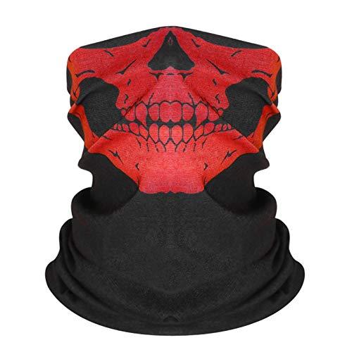 GYSEA Hombres Bufanda Halloween Ride Bandana Mujeres Pañal Ski Ski Cráneo Medio Mascarilla Fantasma Bufanda Bufanda Senderismo Bufandas Balaclava Máscaras (Color : Red)