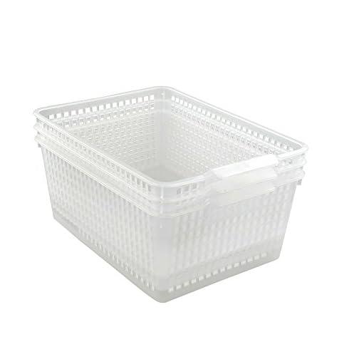 Qsbon Large Plastic Storage Organization Bins Basket, Set of 3, Clear 3
