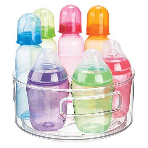 Organizador con Base giratoria en pl/ástico sin BPA y Acero Inoxidable Bandeja Redonda para Accesorios de beb/é como biberones o chupetes mDesign Estante Giratorio para Juguetes Azul