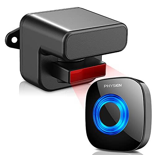 PHYSEN Driveway Alarm Sensor, Wireless PIR Motion Sensor Alarm, Weatherproof Home Security Alert System Kit,3 Levels Adjustable Detect Range,58 Chimes LED Indicator 5 Levels Volume,Mute Mode