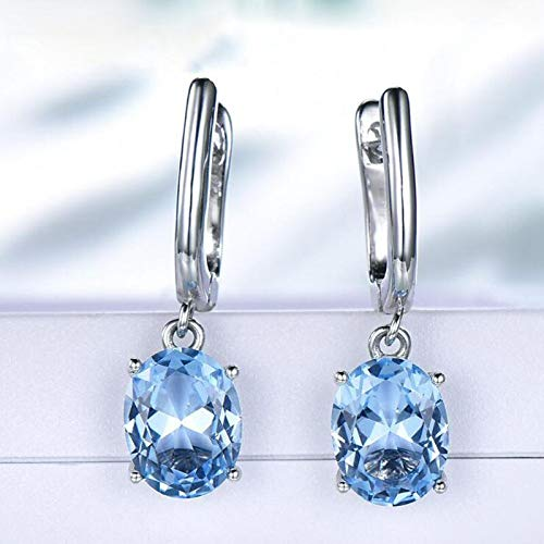 925 Sterling Silver Blue Gem Cz Clip Earrings Fine Jewelry Oval Sky Blue Gemstone Earrings For Women Gift