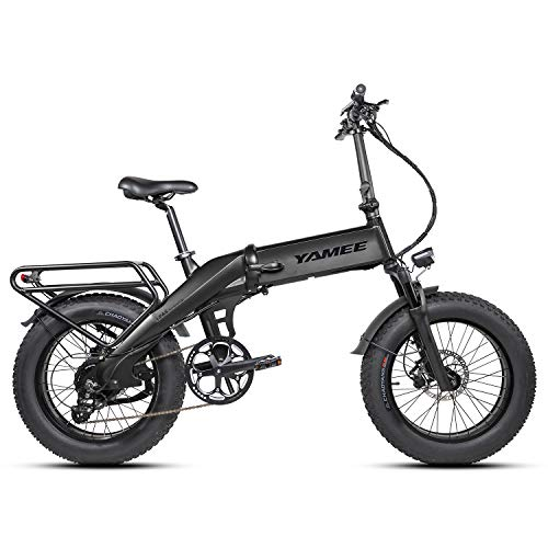 YAMEE XL 48V 750W Electric Bike for Adult 20in 4.0 Fat Tire Folding Electric Bike 48V 14.5AH Lithium Battery Off Road Bicycle LCD Display 12-Speed Snow Mountain Ebike