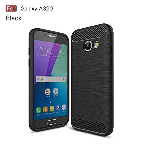 MRSTER Funda para Samsung Galaxy A3 2017, Samsung A3 2017 Fibra Carbono Suave Silicona Funda, Anti-Scratch TPU Protectiva Carcasa Cover para Samsung Galaxy A3 2017. XW Black