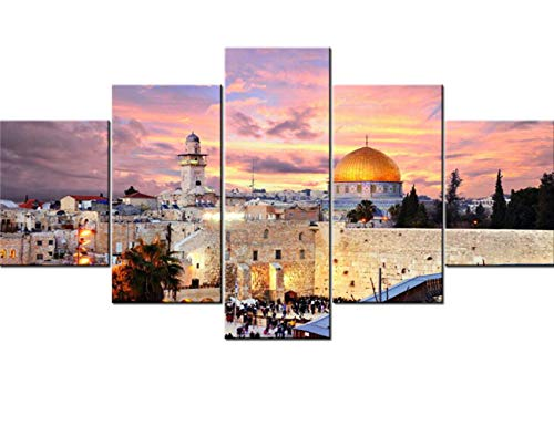 Jerusalem Poster Prints on Canvas 5 Pcs/Multi Panel Wall Art Home Decor for Living Room Israel Paintings Contemporary Pictures Modern Artwork Giclee Wooden Framed Ready to Hang(60
