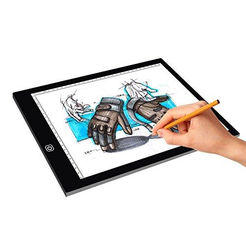 Tuzi Digitale Zeichenbrett Zeichnung Sketchpad Paulclub A4 Größe LED DREI Helligkeit dimmbar Acryl kopieren Boards for Anime Sketch Zeichnung Sketchpad, mit 1,5 m USB-Kabel und Netzteil QiuGe