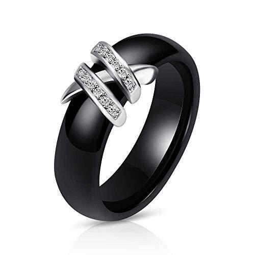 zhuao Kreative Serdienring, Schwarz-weiß Keramikring, Doppel X Diamantring Nummer 6 /Schwarz