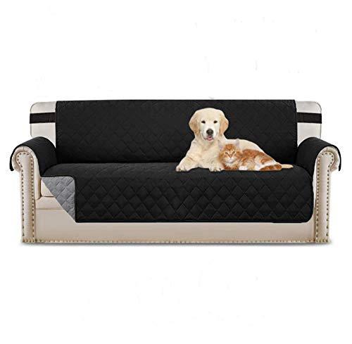iweed Fundas para Sofa Cubre Sofá 3 Plazas Impermeables Antimanchas Protector para Sofá Muebles Funda Antideslizante Cubierta Protectora de Perros/Gato/Mascotas (Negro)