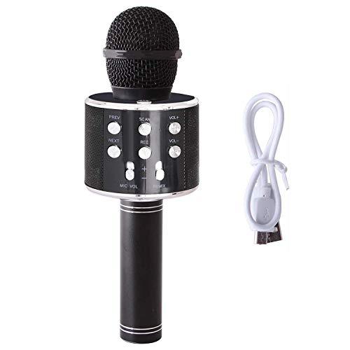 Wireless Bluetooth Karaoke Microphone with Controllable LED Light Portable Handheld Karaoke Speaker Machine Home KTV Player Compatible with Android/iPhone/PC or all Smartphone (Black)