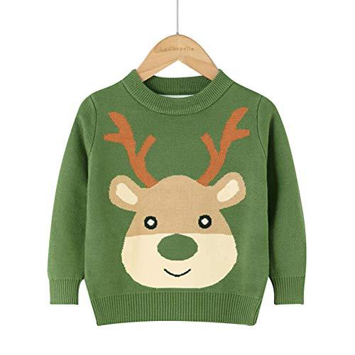 Maglione da bambina, motivo natalizio, con fiocco di neve, verde, 4-5 anni