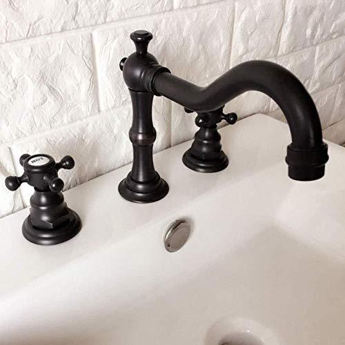 Kraan zwarte olie gewreven messing brede dubbele handvat badkamer wastafel mixer kranen dek gemonteerd 3 gaten lavendel wastafel kraan