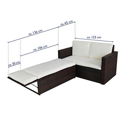 POLY RATTAN Lounge Gartenset Sofa Garnitur Polyrattan Gartenmöbel (Braun) - 5
