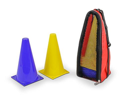 Das HAEST Reitsport Set - 10 Blaue und 10 Gelbe bruchfeste Hütchen mit Tragetasche