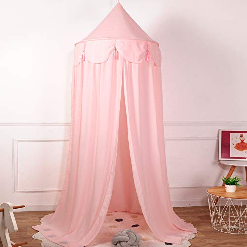 Conthfut Bed Canopy Girls Unique Pendant Play Tent Bedding for Kids Playing Reading with Children Round Dome Netting Curtains Baby Boys Girls Games House