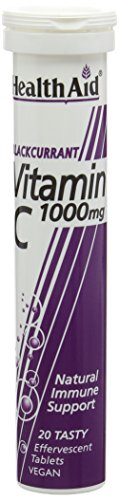 HealthAid Vitamin C Blackcurrant Flavour Vegetarian Effervescent 1000mg 20 Tablets, Pack of 3