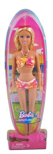 Barbie Año 2008 Beach Party Series Muñeca de 11 pulgadas - BARBIE con gafas de sol rosas y cepillo para el cabello (N4902)