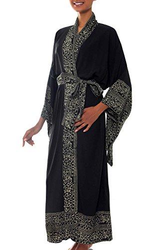 NOVICA Black Batik Printed Hand Made Robe, Midnight Rose' (One Size Fits Most)