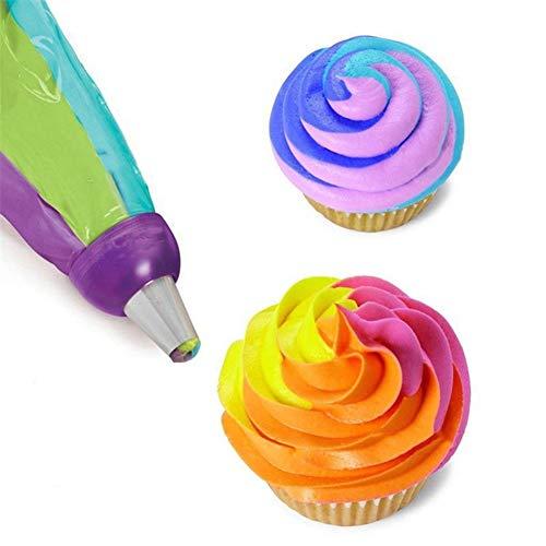 cA0boluoC Spritztüllen, 3 Farben, Kunststoff, Kuchendekoration, wiederverwendbar, für Muffins,  Kekse, Kuchen, Gebäck, Dekoration
