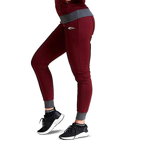 SMILODOX Damen Jogginghose 'Suit up' | Trainingshose für Sport Fitness Gym Training | Sportleggings - Jogger Pants - Sweatpants Hosen - Freizeithose Lang, Bordeaux, XS