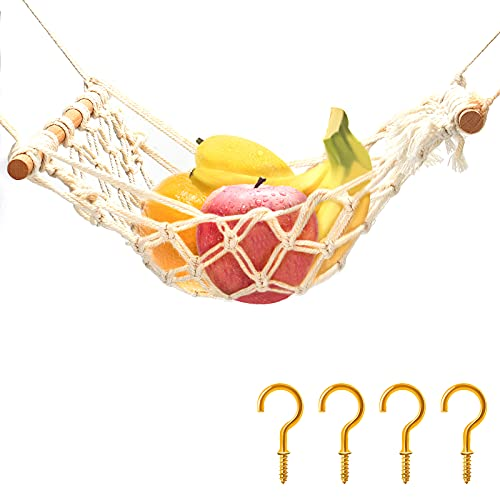 KINBOM 50x30cm Amaca per Frutta e Verdura, Salvaspazio Bohémien Tessuto Macramè Cotone Portafrutta Appeso con 4 Pezzi Gancio per Cucina Sotto il Gabinetto Camper Stoccaggio (Beige)