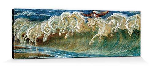 1art1 Walter Crane - Neptuns Pferde, 1892 Bilder Leinwand-Bild Auf Keilrahmen | XXL-Wandbild Poster Kunstdruck Als Leinwandbild 120 x 40 cm