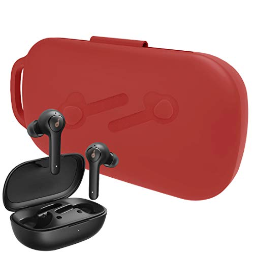 Geekria Silicone Case for Anker Soundcore Life P2 True Wireless Earbuds, with Keychain Soft Slim, 2019 Soundcore Life P2 Wireless Headphones Carrying Protective Cover (Red)