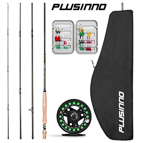 PLUSINNO Fly Fishing Rod and Reel Combo, 4 Piece Lightweight Ultra-Portable Graphite Fly Rod 5/6 9' Complete Starter Package with Carrier Bag