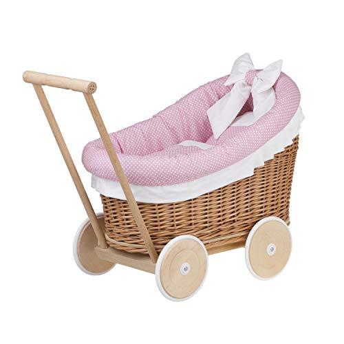 e-wicker24 EIN Wagen, EIN Bett für Puppen aus Weide, Spielzeug aus Weide