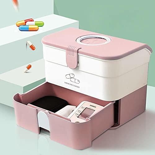 Caja de almacenamiento de plástico para primeros auxilios Contenedor con bandeja extraíble y asa portátil Kit de medicina de emergencia familiar Organizador de estuches-2 capas, rosa