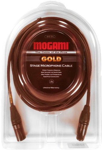 Mogami GOLD STAGE-20 XLR Microphone Cable, XLR-Female to XLR-Male, 3-Pin, Gold Contacts, Straight Connectors, 20 Foot