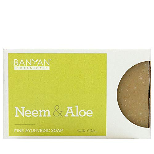 Banyan Botanicals Organic Neem & Aloe Soap - With Wheat Grass Powder, Vetiver Essential Oil & Rosemary Extract - 4 oz - Cooling & Soothing Blend that Gently Exfoliates the Skin