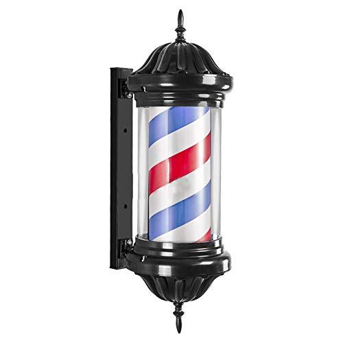 REGAL-HPQ LED Poteau De Barbier Pivotante Lumineuse Et Pivotante, Coiffeurs Enseigne Barber Pole Rouge Blanc Bleu Rayures Imperméable Vintage Mur Lampe