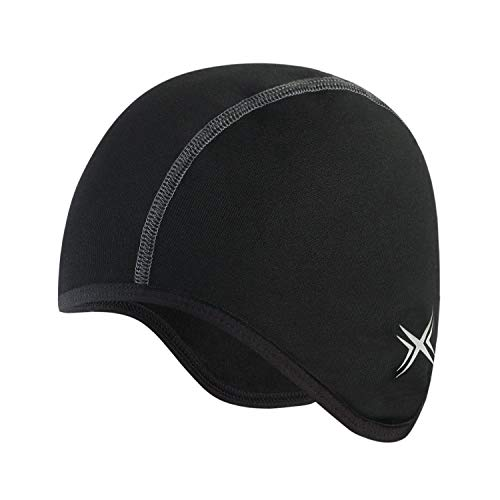 BALEAF Thermal Cycling Skull Cap Under Helmet Liner with Ear Cover Running Skiing Winter Hat Cold Weather Black Black