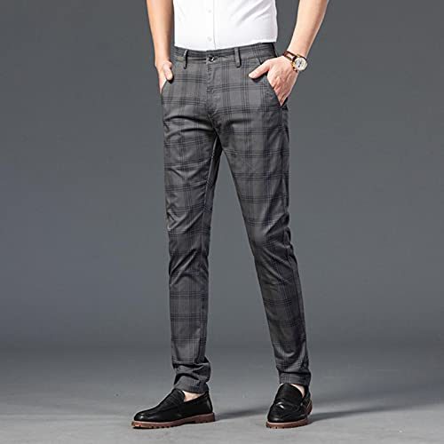 CCLYQ Moda Hombres Pantalones Slim Fit Plaid Ocio Pantalones de Negocios Hombres Streetwear Spring Summer Elástico Smart Traje Pantalones Gris Oscuro 30
