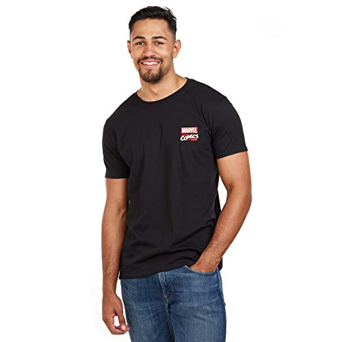 Marvel Herren Stack Logo-Mens Med T-Shirt, Schwarz (Black Blk), (Herstellergröße: Medium)