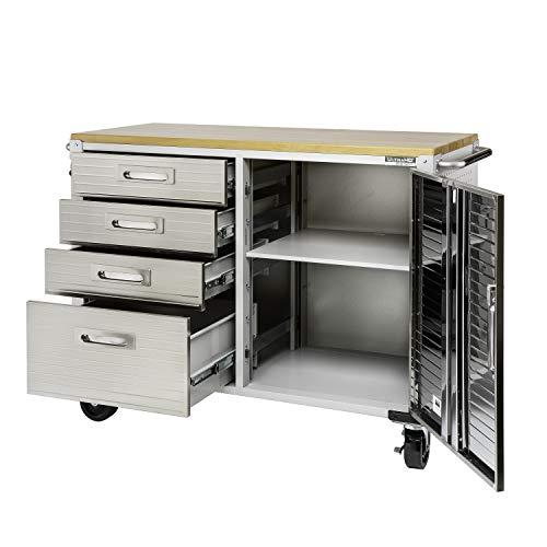 Seville Classics UHD20244 Werkbank mit 4 Schubladen, Metall pulverbeschichtet, Buche Holzarbeitsplatte, 121,9 x 50,8 x 95,2 cm, grau - 8