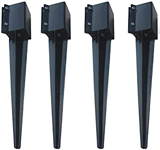 MTB Fence Post Anchor Ground Spike Metal Black Powder Coated 32 x 4 x 4 Inches Outer Diameter (Inner Diameter 3.5 x3.5 Inches), Pack of 4