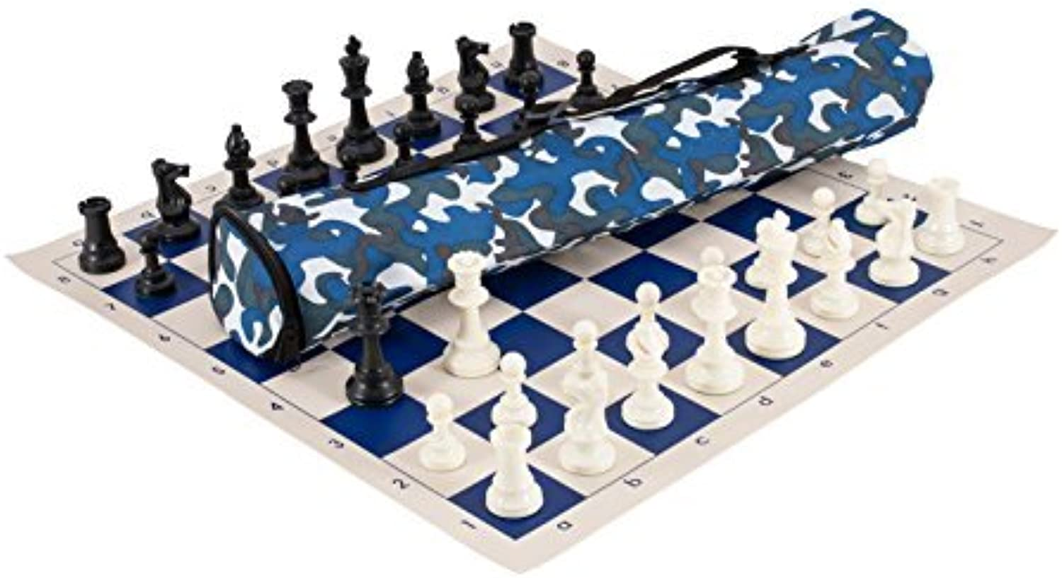 Quiver Chess Set Combination  Triple Weighted  bluee Camo Bag   Royal bluee Board by The House of Staunton, Inc.
