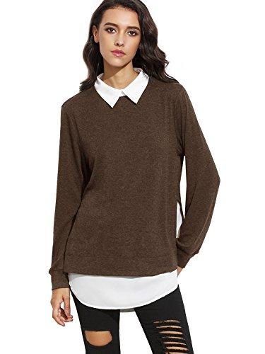 Romwe Women's Classic Collar Long Sleeve Curved Hem Pullover Sweatshirt Brown XL