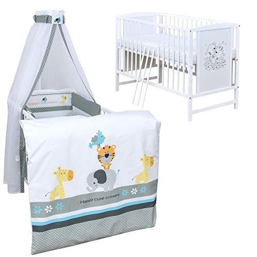 Baby Delux Babybett Komplett Set Kinderbett Mia weiß 120x60 Bettset Matratze in vielen Designs (Happy Critters)