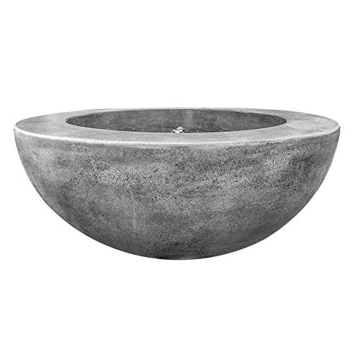 Prism Hardscapes Moderno 5 Electronic Ignition Concrete Gas Fire Pit (PH-426-4NG-WBECS), Natural Gas, Pewter, 36-Inch