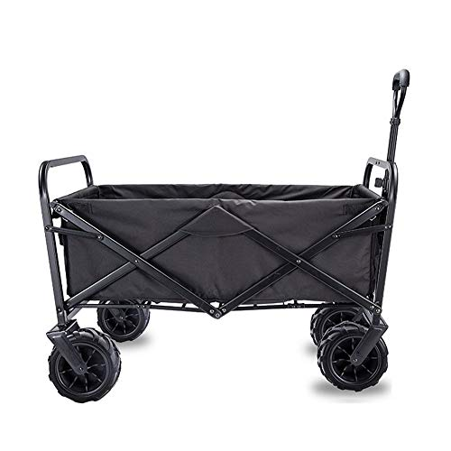 MNSSRN Klappbaren tragbaren Picknick Cart, Outdoor Angeln Cart, Old Man Grocery Einkaufswagen, große Kapazitäts-Einkaufswagen, Multifunktionsaußenwagen,Schwarz,S