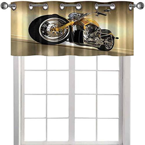 Cortinas de cocina con cenefas de hierro para motocicleta, estilo moderno y futurista, 106,7 cm de ancho x 45,7 cm de largo, cenefa de ventana para dormitorio, color amarillo y plateado