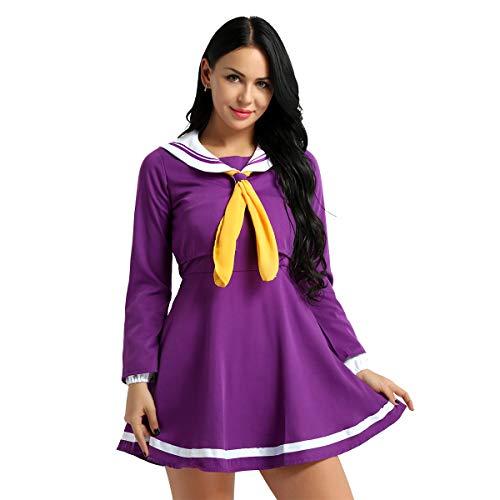 iiniim 4PCS Damen Schulmädchen Kostüm Matrosenanzug Uniform Fasching Karneval Kostüm Matrosen Cosplay Outfit Set S-XL Lila L