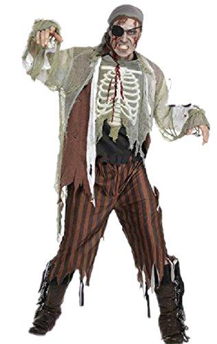Qingsun Déguisement Zombie Pirate Costume Complet Homme pour Halloween/Fête/Party/Club