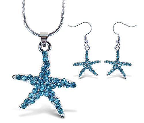 Puzzled Sparkling Starfish Necklace and Earrings Set Charming Necklace and Earring Set - Ocean Sea Life Theme - Aqua Jewelry Always Unique Gift - Item #K6315-6365